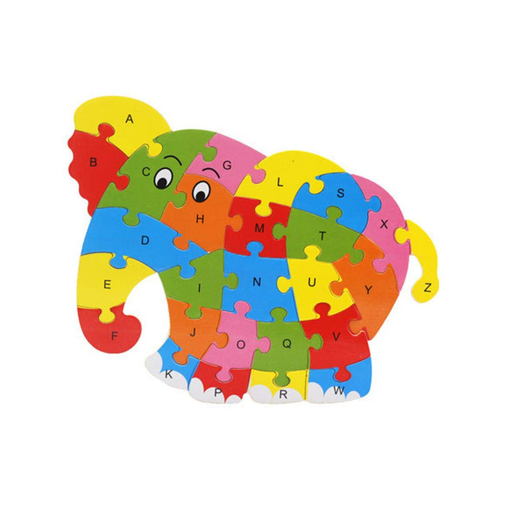 Trigle Wooden Animal 26 Letter Puzzle Toy Kids Baby Wooden Wood Animal Puzzle Numbers Alphabet Learning Educational Toy (J)