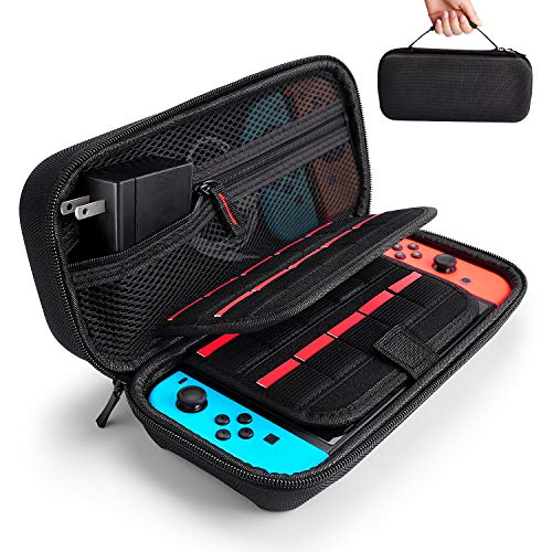Hestia Goods Nintendo Switch Case - Fit Original Charger AC Adapter - with 20 Game Cartridges Hard Shell Travel Switch Carrying Case Pouch for Nintendo Switch Console & Accessories, Black