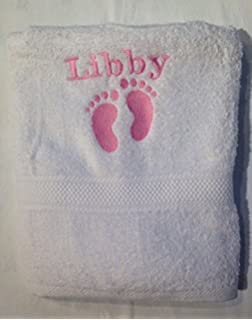Personalised baby bath towel embroidered with footprints and name egyptian  cotton boy or girl baby gift