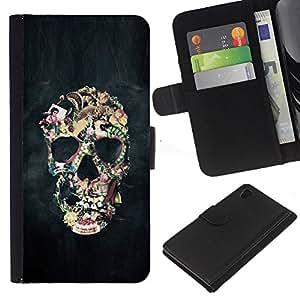 Be-Star la tarjeta de Crédito Slots PU Funda de cuero Monedero caso cubierta de piel Sony Xperia Z4v / Sony Xperia Z4 / E6508 ( Smoke Abstract Black Skull Fog Art )