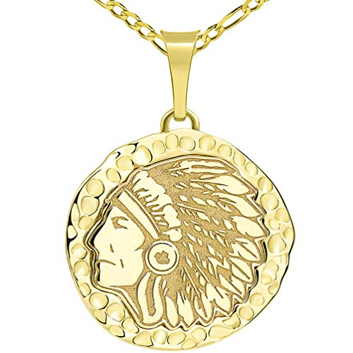 14k Yellow Gold Hand Engraved Native American Chief Indian Head Round Pendant with Figaro Chain Necklace, 20