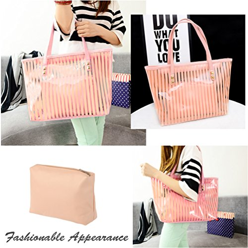 Tote Vbiger in Handbag Casual Pink Chic Bag Women 1 Bag Clear Pink Shoulder for 2 zfnwzTx4