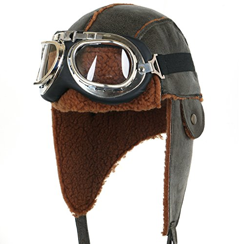 Aviator Vintage Costumes (ililily Aviator Hat Winter Snowboard Fur Ear Flaps Trooper Trapper Pilot Goggles , Olive Green)