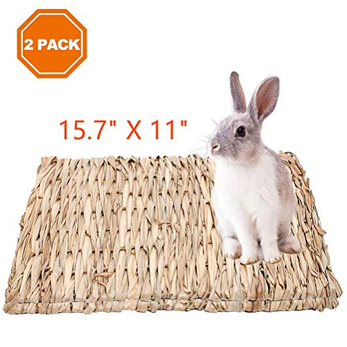 - 2 Pack Grass Mat for Rabbits Natural Hay Woven Bed Mat for Small Animal, Hamsters, Guinea Pigs, Chew Toys Bed