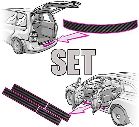 Einstiegsleisten SET + Ladekantenschutz + RAKEL + ANLEITUNG in 3D CARBON SCHWARZ Folie – passende Schutzfolie von CCW©
