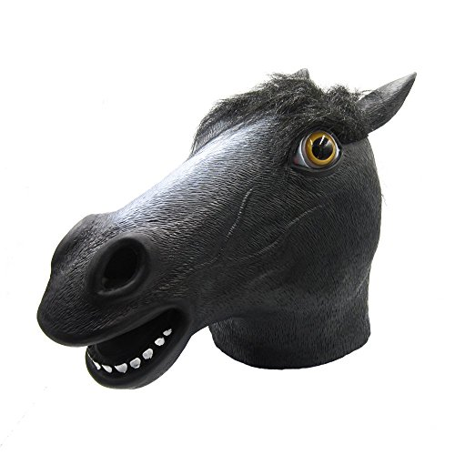 [Lubber Horse Latex Animal Head Mask for Halloween Costume, Black] (Horse Costume Head)