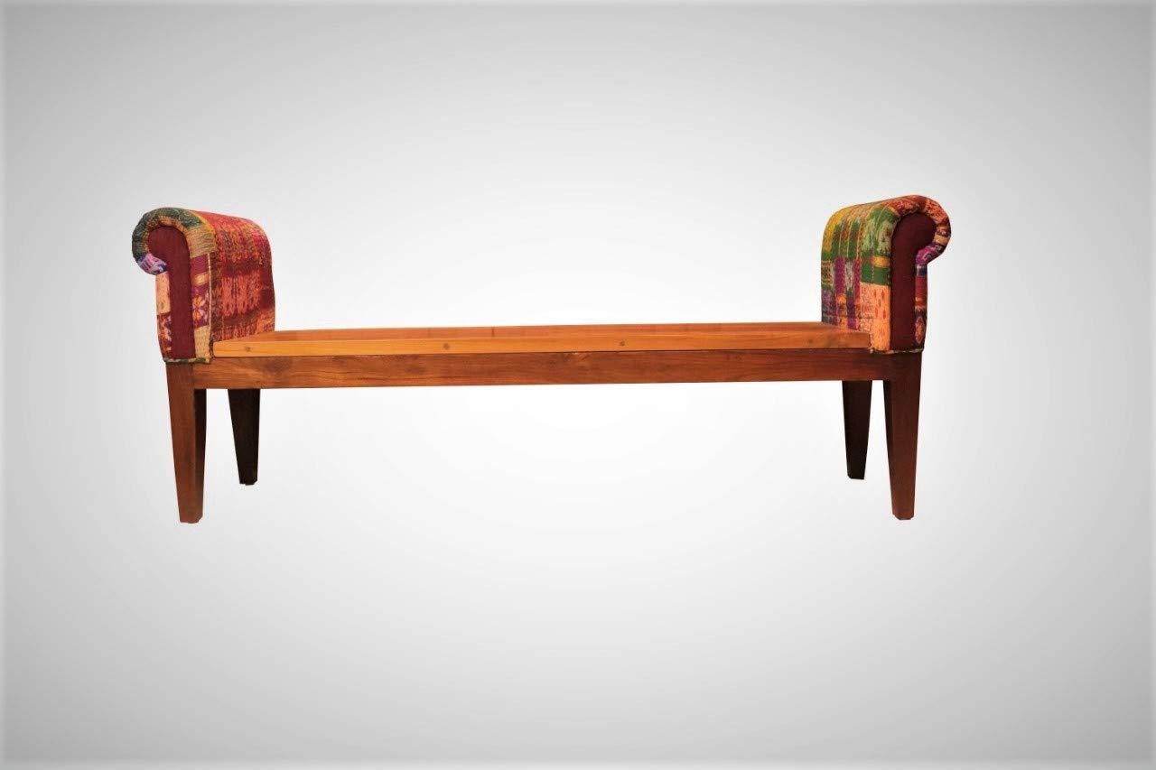 Pitara Multicolour Katha Patchwork Miranti Wood Bench With Side