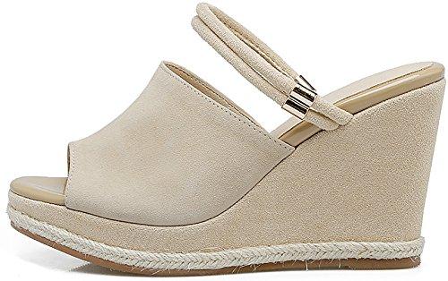 Heel Open Wedge 9CM Salbb Beige Slip Shoes Women Toe Sandals on Calaier xqYRwI