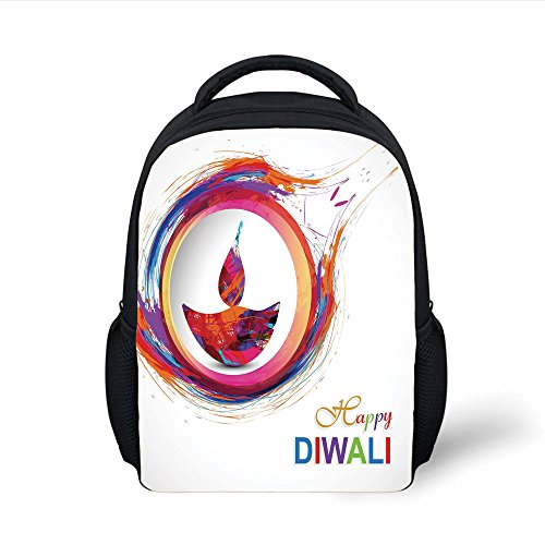 iPrint Kids School Backpack Diwali Decor,Rainbow Themed Colored Modern Image of Diwali Celebration Candle Fire Print,Multicolor Plain Bookbag Travel Daypack by iPrint