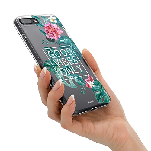 iPhone 8 Plus iPhone 7 Plus Aloha Love Summer Tropical Colorful Hawaii Floral Clear Rubber Case Good Vibes Only Palm Tree Beach Floral Rose Girl Case for iPhone 8 Plus(7 Plus) Photo #5