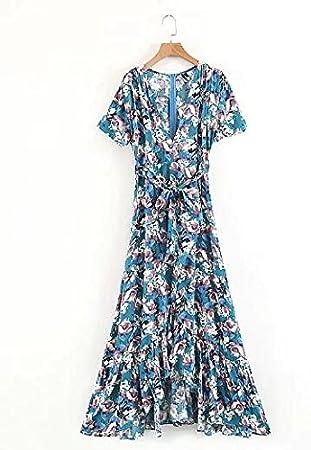 SONGQINGCHENG Boho Irregular Verano Vestidos Estampados Florales con Cuello En V Hem Bohemia Vestidos Largos Vestidos
