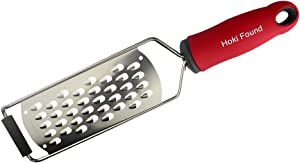 Hoki Found Cheese Grater Handheld Shredder - Food Graters for Kitchen Stainless Steel - Vegetable Cheese Grater Flat - Coarse Grater Zester - Fruit Grater, Red