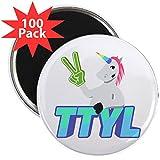 CafePress - Emoji Unicorn TTYL - 2.25'' Magnet (100 pack)
