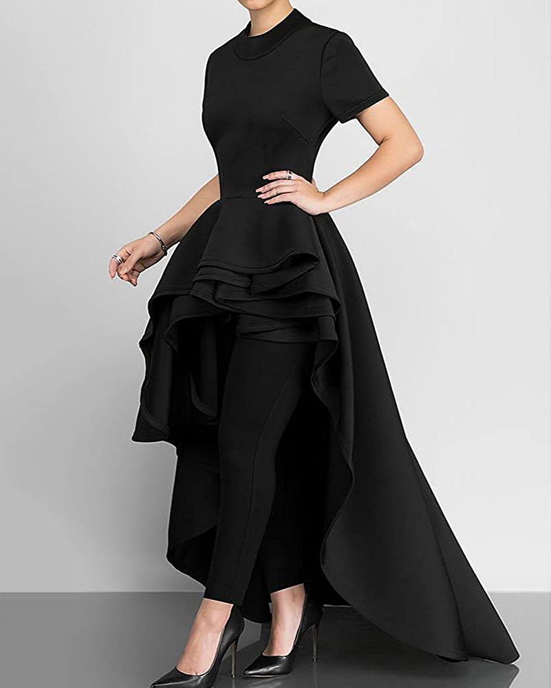 2e124054bf Misassy Womens Runway High Low Peplum Top Maxi Dress Short Sleeve Ruffle  Swallowtail Dresses for Party Club at Amazon Women s Clothing store