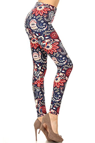 R793-OS Paisley Grace Print Fashion Leggings