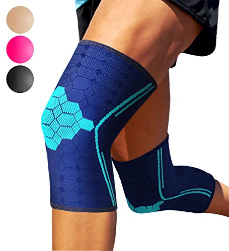 Sparthos Knee Compression Sleeves (Pair) – Support for Sports, Running, Joint Pain Relief – Knee Brace for Men and Women – Walking Cycling Football Tennis Basketball Hiking Workout Jogging (Blue