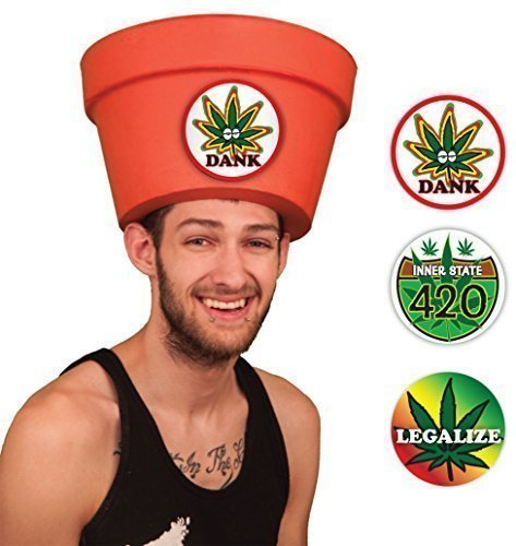 Crazy Last Minute Costume Ideas - Funny Men's Legalize Weed Hat Sticker Combo (Made in USA) (Clever Easy Halloween Costumes Guys)