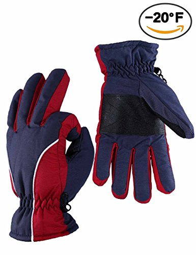 Warm Gloves, OZERO -20°F Cold Proof Winter Snow Skiing Glove for Men & Women & Young - Reinforced PU Palm and TR Cotton Insert - Water Resistant & Windproof - Berry-Red