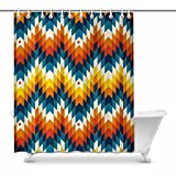 InterestPrint Navajo Southwest Native American Geometric Print Decor Waterproof Polyester Bathroom Shower Curtain Bath with Hooks, 60(Wide) x 72(Height) inches
