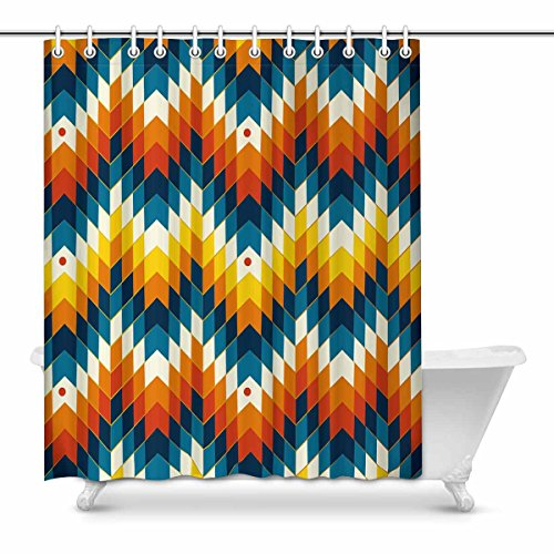 InterestPrint Navajo Southwest Native American Geometric Print Decor Waterproof Polyester Bathroom Shower Curtain Bath with Hooks, 60(Wide) x 72(Height) inches by InterestPrint