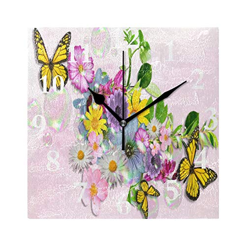 SHNUFHBD Silent Wall Clock Yellow Butterfly Flower for Home/Office/Kitchen/Bedroom/Living Room 7.87x7.87Inch -