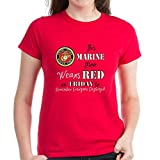 CafePress - Marine Mom Red Friday T-Shirt - Womens Cotton T-Shirt