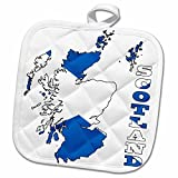 3dRose 777images Flags and Maps - Europe - Flag of Scotland in outline map of Scotland and country name - 8x8 Potholder (phl_165744_1)