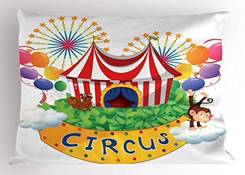 Circus Decor Pillow Sham by Ambesonne, Carnival with a Circus Signboard Cirque Leaves Plants Fireworks Monkey, Decorative Standard Queen Size Printed Pillowcase, 30 X 20 Inches, (Cirque Bath)