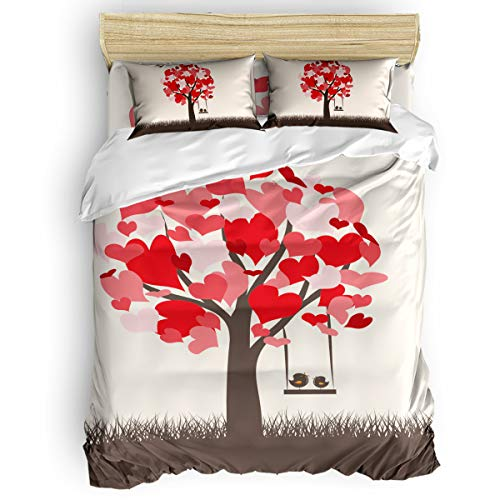 Lazone Beding Collection Duvet Cover Sets with Zipper Closure,Happy Valentine's Day Heart-Shaped Tree Bird Pattern Bed Sheet Set,Include 1 Duvet Cover 1 Bed Sheets 2 Pillow Shams Queen Size