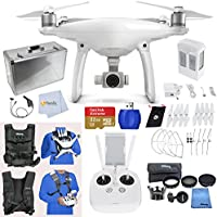 DJI Phantom 4 Adventure Bundle includes SanDisk 32GB Extreme Memory + High Speed Card Reader + Aluminum Hard Case + Extra Set of Propeller Blades & Prop Guards + Car Charger + Easy Carry Vest & More!!