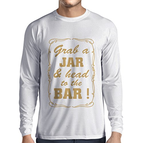 Studio Grab Bar (Long Sleeve t Shirt Men Grab a Jar and & Head To The Bar! (XS White Gold))