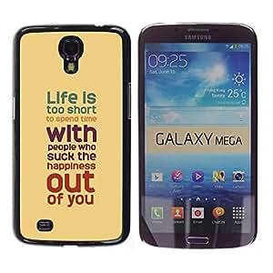 TopCaseStore / la caja del caucho duro de la cubierta de protección de la piel - Quote Motivational Yellow Teal Pastel - Samsung Galaxy Mega 6.3 I9200 SGH-i527