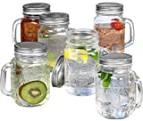 jar glasses with handles - Estilo Mason Jar Mugs with Handles Old Fashioned Drinking Glass Set 6, 16 oz Each