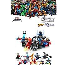 ABG toys 8 Minifigures MARVEL DC Comics Avengers X-Men Super Heroes The Atom, Beast, Nightcrawler, Superman, Batman, The Flash, Quicksilver, Cyclops Minifigure Series Building Blocks Sets Toys