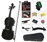 YMC Full Size 4/4 Violin Starter Kit with Hard Case,Bow,Rosin,Extra Strings,Shoulder Rest,Mute,Electronic Tuner,Pinkinest,polish cloth,Violin Hanger-Black