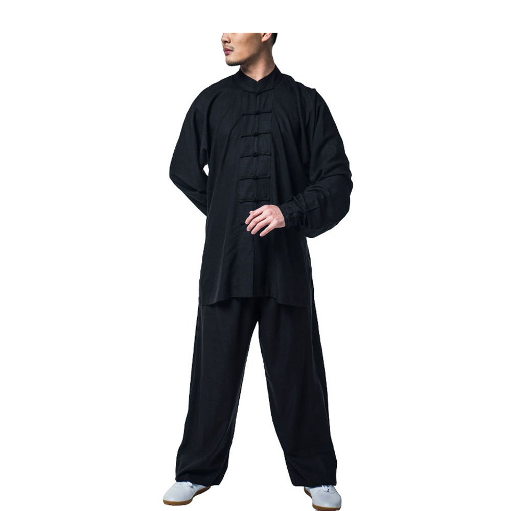 KIKIGOAL Cotton Linen Chinese Traditional Tai Chi Uniforms Kung Fu Clothing Unisex Tang Suit Martial Arts Wear (L, black)