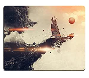Abstract Animal Eagle Flight Motion Mouse Pads Customized Made to Order Support Ready 9 7/8 Inch (250mm) X 7 7/8 Inch (200mm) X 1/16 Inch (2mm) High Quality Eco Friendly Cloth with Neoprene Rubber Luxlady Mouse Pad Desktop Mousepad Laptop Mousepads Comfortable Computer Mouse Mat Cute Gaming Mouse pad