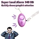 Safesound Personal Alarm Keychain 140DB SOS Emergency Alarm with LED Light, Self Defense Security Alarm Personal Alarms for Women Kids Elderly Students Night Workers & as Bag Decoration, 2 Pack Purple