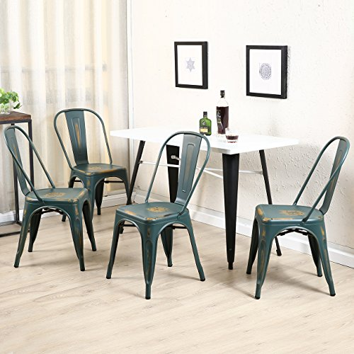 Belleze Stackable Industrial Chic Dining Bistro Cafe Side Chairs, Antique Blue (Set of 4)