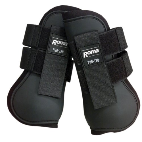 [Roma Open Front Boots Black Full] (Equus Horse Costume)