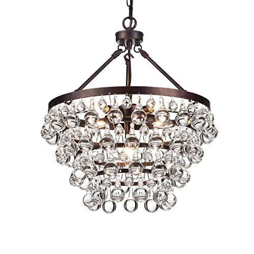 Edvivi Clarus 5-Light 4 Tier Antique Copper Crystal Chandelier Ceiling Fixture | Glam Lighting