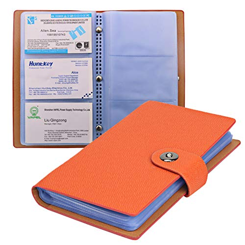 (Tenn Well Business Card Holder Book with Magnetic Closure for Organizing Business Cards, Credit Cards, Membership Cards, Hold 300 Cards (Orange))