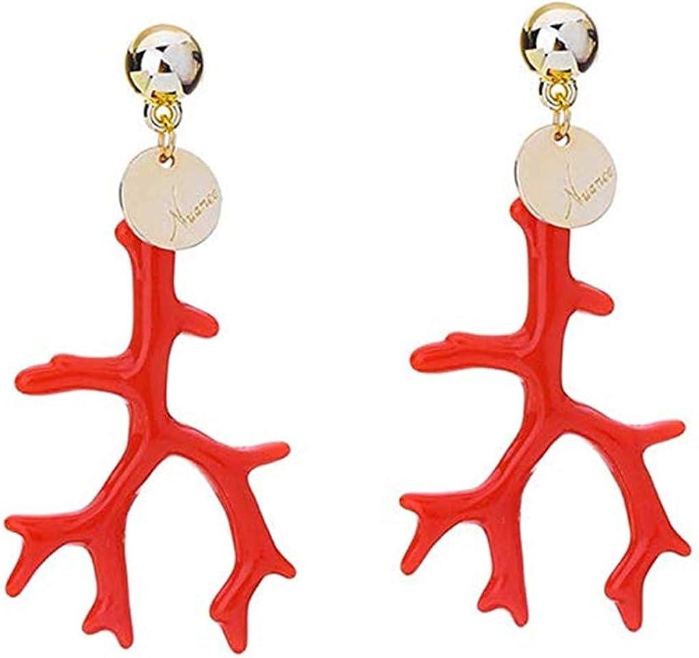 DANDANdianzi Forma 1 Par Mujeres Resina Coral anillos de oído del pendiente de aleación de la muchacha de la vendimia de Bohemia gota del oído del perno prisionero