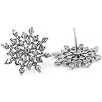 Exquisite Bright CZ Imitation Crystal Snowflake Ear Stud Earrings For Women Xuanhemen