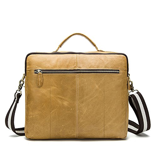 stepack marca Vintage de hombre de piel auténtica bolso bandolera maletín para portátiles, Amarillo Marrón amarillo marron