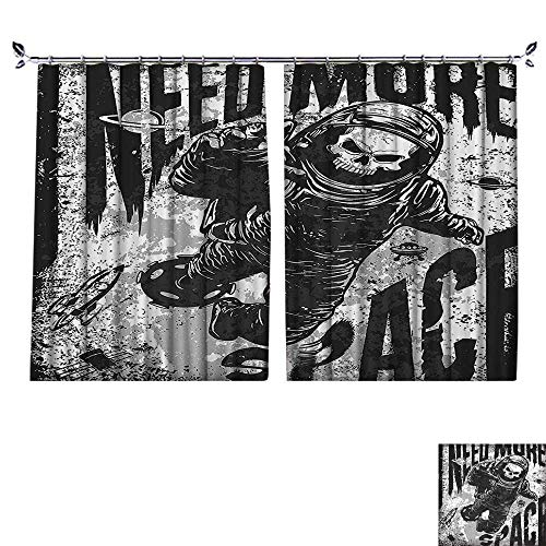 PRUNUS Blackout Curtain with hookSkull in Spaceman Suit Over Grunge Background Dead Spooky Halloween Theme Nice Bedroom Design,W55 xL45 ()