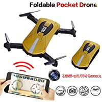 BDKJ Wifi FPV mini Quadcopter RC Drone with 2.0MP HD Camera Foldable Flight App Control RTF