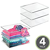 mDesign Closet Organizer Clothing Storage Box with Lid for Shirts, Sweaters, Pants - Pack of 4, Clear