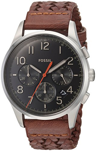 Men's  Vintage 54 Chronograph Brown Leather Watch - Fossil FS5294