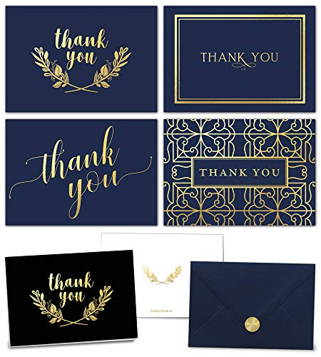 100 Thank You Cards Bulk Set - Includes Gold Foil Thank You Notes, Blank Cards with Envelopes, Stickers & Box - Perfect for Business, Wedding, Bridal Shower, Baby Showers, Funeral, Graduation (Baby Thank Yous)